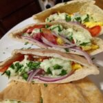 Daily Pic – Bacon and Egg Pita with Green Onion Tzatziki
